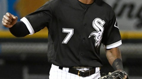 Chicago White Sox's Tim Anderson celebrates the team's 8-3 win against the Milwaukee Brewers in a baseball game Friday, June 1, 2018, in Chicago. (AP Photo/David Banks)