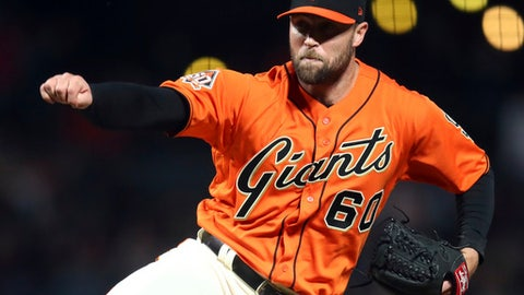 San Francisco Giants pitcher Hunter Strickland follows through on a delivery to a Philadelphia Phillies batter during the ninth inning of a baseball game Friday, June 1, 2018, in San Francisco. (AP Photo/Ben Margot)