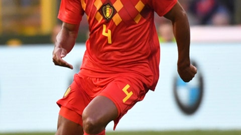 Belgium's Vincent Kompany kicks the ball during a friendly soccer match between Belgium and Portugal at the King Baudouin stadium in Brussels, Saturday, June 2, 2018. (AP Photo/Geert Vanden Wijngaert)
