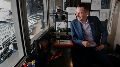 New York Mets public address announcer Colin Cosell answers questions during an interview, Saturday, June 2, 2018, at Citi Field in New York. Cosell is starting his first day as the Mets' PA announcer and is the grandson of famed sportscaster Howard Cosell. He will be splitting the duties with Marysol Castro. (AP Photo/Julie Jacobson)