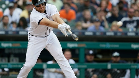 Detroit Tigers' John Hicks singles to drive in two runs against the Toronto Blue Jays and take a 6-4 lead during the eighth inning of a baseball game Saturday, June 2, 2018, in Detroit. (AP Photo/Duane Burleson)