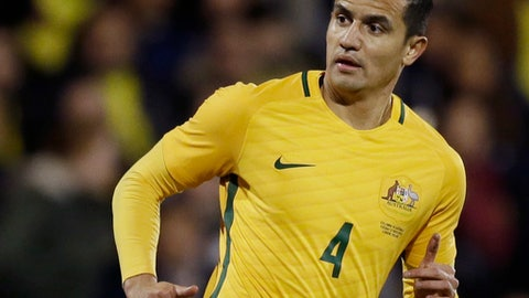 FILE - In this March 27, 2018, file photo, Australia's Tim Cahill plays during a friendly soccer match between Colombia and Australia in London.  Cahill will have a chance to score a goal in his fourth consecutive World Cup for Australia. The 38-year-old forward was chosen on Sunday, June 3, 2018, by coach Bert van Marwijk among 23 players set to play in Russia for the Socceroos. (AP Photo/Tim Ireland, File)