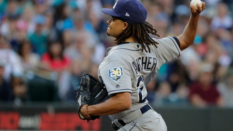 Tampa Bay Rays starting pitcher Chris Archer throws against the Seattle Mariners during the first inning of a baseball game, Saturday, June 2, 2018, in Seattle. (AP Photo/Ted S. Warren)