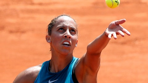 Madison Keys of the U.S.serves to Romania's Mihaela Buzarnescu during their fourth round match of the French Open tennis tournament at the Roland Garros stadium, Sunday, June 3, 2018 in Paris. (AP Photo/Christophe Ena)