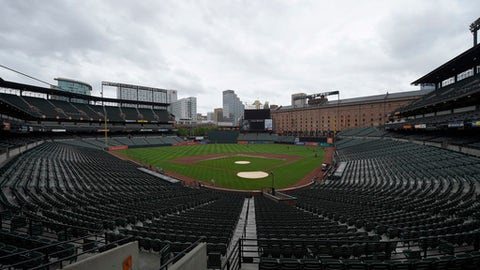 View of Oriole Park at Camden Yards where the baseball game between the Baltimore Orioles and the New York Yankees was postponed, Sunday, June 3, 2018, in Baltimore. (AP Photo/Nick Wass)