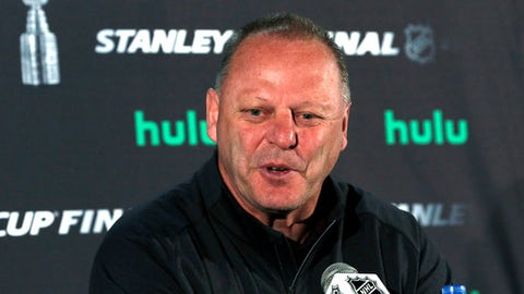 Vegas Golden Knights head coach Gerard Gallant speaks to the media, Sunday, June 3, 2018, in Arlington, Va. The Golden Knights will play the Washington Capitals in Game 4 of the NHL hockey Stanley Cup Final Monday night in Washington. (AP Photo/Bill Sikes)