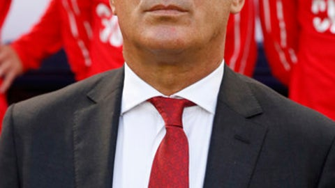 Switzerland's national soccer coach Vladimir Petkovic stands at the bench before the start of a friendly soccer match between Spain and Switzerland at the Ceramica stadium in Villarreal, Spain, Sunday, June 3, 2018. (AP Photo/Alberto Saiz)