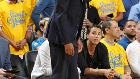 OAKLAND, CA - MAY 31: Andre Iguodala #9 of the Golden State Warriors looks on during the game against the Cleveland Cavaliers in Game One of the 2018 NBA Finals on May 31, 2018 at ORACLE Arena in Oakland, California. (Photo by Nathaniel S. Butler/NBAE via Getty Images)