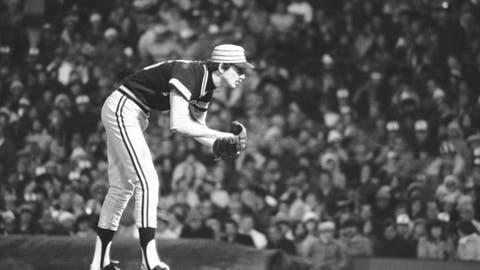 FILE - In this Oct. 10, 1979, file photo, Pittsburgh Pirates pitcher Bruce Kison delivers to a Baltimore Orioles batter during Game 1 of the baseball World Series, in Baltimore, Md. Kison, who helped the Pirates win two World Series in the 1970s, has died of cancer. He was 68.  His wife, Anna Marie, said Kison died Saturday, June 2, 2018, at the Tidewell Hospice in Bradenton, Fla. (AP Photo/Ray Stubblebine, File)