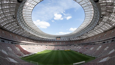 In this photo taken on Wednesday, June 28, 2017 an inside view of of the refurbished Luzhniki stadium in Moscow, Russia. (AP Photo/Denis Tyrin)