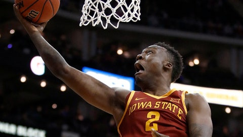 Iowa State's Cameron Lard shoots during the first half of the team's NCAA college basketball game against Texas in the Big 12 men's tournament Wednesday, March 7, 2018, in Kansas City, Mo. (AP Photo/Charlie Riedel)
