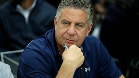 Auburn head coach Bruce Pearl attends the NBA draft basketball combine Thursday, May 17, 2018, in Chicago. (AP Photo/Charles Rex Arbogast)