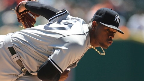 New York Yankees starting pitcher Luis Severino throws during the first inning of the first game of a baseball doubleheader against the Detroit Tigers, Monday, June 4, 2018, in Detroit. (AP Photo/Carlos Osorio)