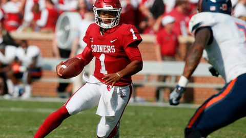 FILE - In this Sept. 2, 2017, file photo, Oklahoma quarterback Kyler Murray (1) carries against UTEP in the third quarter of an NCAA college football game in Norman, Okla. For Lincoln Rileys second season as head coach at Oklahoma, the Sooners have to find Heisman winner Baker Mayfields successor. So a big part of the coachs first spring was determining the new starter, a process between last years backup Kyler Murray and redshirt Austin Kendall that continue into the summer and preseason.(AP Photo/Sue Ogrocki, File)