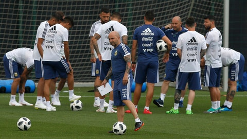 Argentina's coach Jorge Sampaoli takes part in a team training session at the Sports Center FC Barcelona Joan Gamper, in Sant Joan Despi, Spain, Tuesday, June 5, 2018. Israel will play Argentina on Saturday June 9 in a friendly soccer match. (AP Photo/Manu Fernandez)
