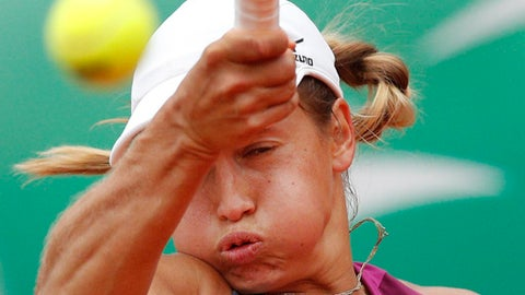 Kazakhstan's Yulia Putintseva returns a shot against Madison Keys of the U.S. during their quarterfinal match of the French Open tennis tournament at the Roland Garros stadium in Paris, France, Tuesday, June 5, 2018. (AP Photo/Christophe Ena)
