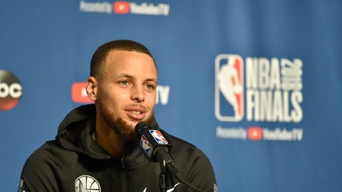 CLEVELAND, OH - JUNE 05: Stephen Curry of the Golden State Warriors addresses the media during practice and media availability as part of the 2018 NBA Finals on June 05, 2018 at Quicken Loans Arena in Cleveland, Ohio. (Photo by David Kyle/NBAE via Getty Images)