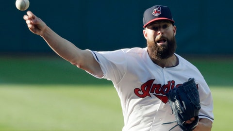 Cleveland Indians starting pitcher Corey Kluber delivers in the first inning of a baseball game against the Milwaukee Brewers, Tuesday, June 5, 2018, in Cleveland. (AP Photo/Tony Dejak)