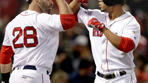 Boston Red Sox's Xander Bogaerts, right, is congratulated by J.D. Martinez after his solo home run off Detroit Tigers relief pitcher Warwick Saupold during the fifth inning of a baseball game at Fenway Park in Boston, Tuesday, June 5, 2018. (AP Photo/Charles Krupa)