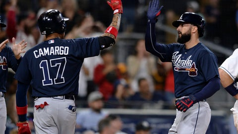 Atlanta Braves' Nick Markakis, right, is congratulated at home plate by Johan Camargo after Markakis hit a three-run home run during the seventh inning of a baseball game against the San Diego Padres on Tuesday, June 5, 2018, in San Diego. (AP Photo/Orlando Ramirez)
