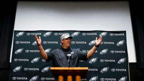 Philadelphia Eagles head coach Doug Pederson speaks to the media before practice at the NFL football team's facility, Wednesday, June 6, 2018, in Philadelphia. (AP Photo/Matt Slocum)