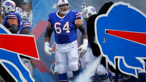 File-This Sept. 10, 2017, file photo shows Buffalo Bills offensive guard Richie Incognito (64) reacting as he takes the field before an NFL football game against the New York Jets in Orchard Park, N.Y.   Incognito tells The Associated Press he's back home training in Arizona and feeling great, two weeks after the former Buffalo Bills offensive lineman spent three days in a mental hospital following an alleged outburst at a south Florida gym. (AP Photo/Jeffrey T. Barnes, File)