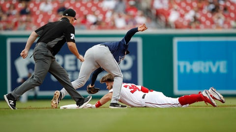 Tampa Bay Rays second baseman Brad Miller (13) tags out a sliding Washington Nationals' Bryce Harper (34), during the fourth inning of a baseball game at Nationals Park, Wednesday, June 6, 2018, in Washington. Umpire Tom Woodring (75) had called Harper safe but the play was overturned after a video replay challenge from the Tampa Bay Rays. (AP Photo/Pablo Martinez Monsivais)