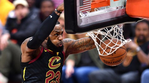 CLEVELAND, OH - JUNE 06:  LeBron James #23 of the Cleveland Cavaliers dunks against the Golden State Warriors in the first quarter during Game Three of the 2018 NBA Finals at Quicken Loans Arena on June 6, 2018 in Cleveland, Ohio. (Photo by Jamie Sabau/Getty Images)