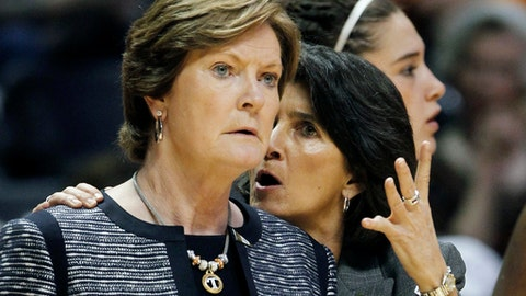 FILE - In this March 19, 2011, file photo, Tennessee head coach Pat Summitt, left, listens to assistant coach Mickie DeMoss in the first half of a first round game between Tennessee and Stetson in the NCAA college basketball tournament, in Knoxville, Tenn. Connecticut assistant coach Chris Dailey  and former Tennessee assistant Mickie DeMoss are breaking new ground this weekend when they get inducted into the Women's Basketball Hall of Fame. This marks the first time in the organization's 20-year history that it has inducted anyone based on accomplishments as an assistant coach. (AP Photo/Mark Humphrey, File)