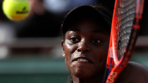 Sloane Stephens of the U.S. returns a shot against Madison Keys of the U.S. during their semifinal match of the French Open tennis tournament at the Roland Garros stadium in Paris, France, Thursday, June 7, 2018. (AP Photo/Alessandra Tarantino)