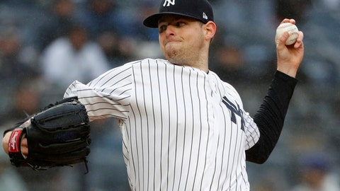 File-This April 3, 2018, file photo shows New York Yankees starting pitcher Jordan Montgomery winding up during the first inning of an opening day baseball game against the Tampa Bay Rays at Yankee Stadium in New York. Montgomery has undergone Tommy John surgery, which will sideline the left-hander until the second half of next season or possibly 2020. Head team Physician Dr. Christopher Ahmad operated Thursday, June 7, 2018, at New York-Presbyterian Hospital. New York said the reconstructive operation repaired a torn ulnar collateral ligament in Montgomerys left elbow consistent with a recent MRI, and a loose bone chip was removed. (AP Photo/Kathy Willens, File)