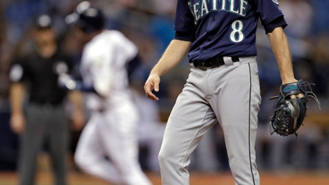 Seattle Mariners starting pitcher Mike Leake (8) kicks the mound as Tampa Bay Rays' Daniel Robertson runs around the bases after Robertson hit a home run during the third inning of a baseball game Thursday, June 7, 2018, in St. Petersburg, Fla. (AP Photo/Chris O'Meara)