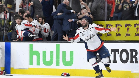 Washington Capitals left wing Alex Ovechkin, of Russia, celebrates as the Capitals defeated the Vegas Golden Knights in Game 5 of the NHL hockey Stanley Cup Finals to win the Stanley Cup Thursday, June 7, 2018, in Las Vegas. (AP Photo/Mark J. Terrill)