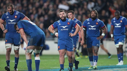 French team members react during their rugby test against New Zealand in Auckland, New Zealand, Saturday, June 9, 2018. (AP Photo/David Rowland)