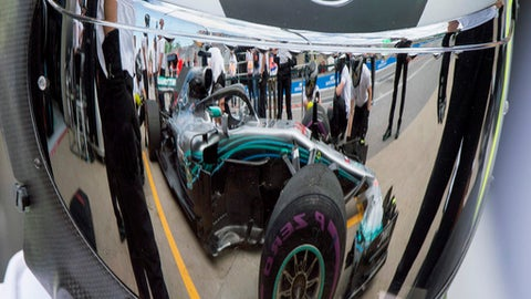 The Mercedes pit crew practice their pit stops during the third practice session at the Formula One Canadian Grand Prix auto race Saturday, June 9, 2018, in Montreal. (Ryan Remiorz/The Canadian Press via AP)