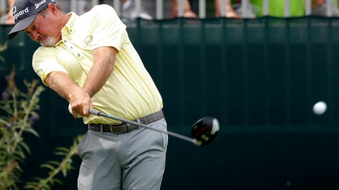Jerry Kelly hits off the first tee during the second round of the PGA Tour Champions Principal Charity Classic golf tournament, Saturday, June 9, 2018, in Des Moines, Iowa. (AP Photo/Charlie Neibergall)