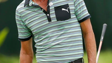 Jesper Parnevik watches his shot off the first tee during the second round of the PGA Tour Champions Principal Charity Classic golf tournament, Saturday, June 9, 2018, in Des Moines, Iowa. (AP Photo/Charlie Neibergall)