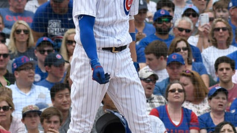 Chicago Cubs' Kris Bryant reacts after striking out against the Pittsburgh Pirates during the second inning of a baseball game Saturday, June 9, 2018, in Chicago. (AP Photo/David Banks)