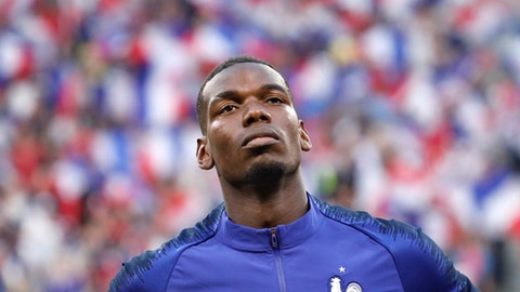 France's Paul Pogba looks on ahead of the friendly soccer match between France and USA at the Groupama stadium in Decines, near Lyon, central France, Saturday, June 9, 2018. (AP Photo/Laurent Cipriani)