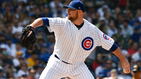 Chicago Cubs starting pitcher Jon Lester throws against the Pittsburgh Pirates during the sixth inning of a baseball game Saturday, June 9, 2018, in Chicago. (AP Photo/David Banks)