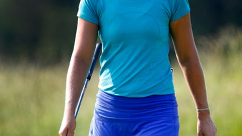 Anna Nordqvist reacts after missing a putt at the third hole during the second round of the ShopRite LPGA Classic golf tournament, Saturday, June 9, 2018, in Galloway, N.J. (AP Photo/Noah K. Murray)