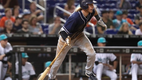San Diego Padres' Travis Jankowski runs after hitting an RBI-single to score Hunter Renfroe during the eighth inning of a baseball game against the Miami Marlins, Saturday, June 9, 2018, in Miami. (AP Photo/Lynne Sladky)