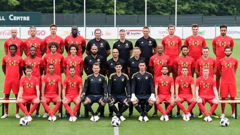 Belgian national team players pose for a team picture, after the final selection, prior to the 2018 FIFA World Cup Russia at the national training center in Tubize, Belgium, Tuesday, June 5, 2018. Top from left to right, Laurent Ciman, Toby Alderweireld, Leander Dendoncker, Romelu Lukaku, Inaki Vergara, Richard Evans, Erwin Lemmens, Jan Vertonghen, Thomas Meunier and Nacer Chadli. Middle row left to right, Dedryck Boyata, Michy Batshuayi, Marouane Fellaini, Axel Witsel, Thierry Henry, manager Roberto Martinez, assistant coach Graeme Jones, Vincent Kompany, Moussa Dembele, Thomas Vermaelen and Yannick Carrasco. Bottom row left to right, Adnan Januzaj, Youri Tielemans, Eden Hazard, Simon Mignolet, Thibaut Courtois, Koen Casteels, Dries Mertens, Thorgan Hazard and Kevin De Bruyne. (Nico Vereecken, Pool Photo via AP)