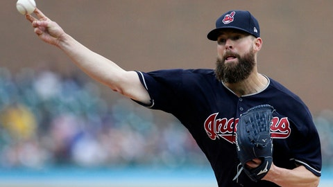 Cleveland Indians' Corey Kluber pitches against the Detroit Tigers during the second inning of a baseball game Sunday, June 10, 2018, in Detroit. (AP Photo/Duane Burleson)