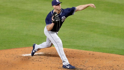 San Diego Padres starting pitcher Clayton Richard delivers during the fourth inning of a baseball game against the Miami Marlins, Sunday, June 10, 2018, in Miami. (AP Photo/Lynne Sladky)