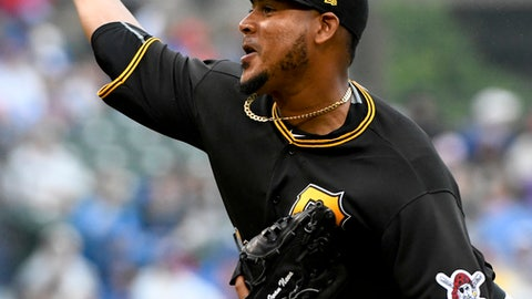 Pittsburgh Pirates starting pitcher Ivan Nova delivers during the second inning of a baseball game against the Chicago Cubs, Sunday, June 10, 2018, in Chicago. (AP Photo/Matt Marton)