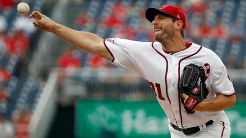 Washington Nationals starting pitcher Max Scherzer throws during the first inning of a baseball game against the San Francisco Giants at Nationals Park, Sunday, June 10, 2018, in Washington. (AP Photo/Alex Brandon)