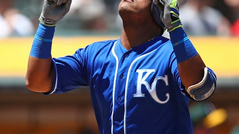 Kansas City Royals' Salvador Perez celebrates after hitting a home run  in the third inning of a baseball game Sunday, June 10, 2018, in Oakland, Calif. (AP Photo/Ben Margot)