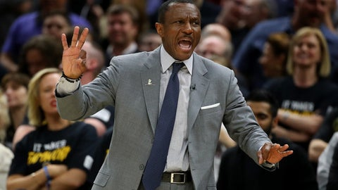 CLEVELAND, OH - MAY 05:  Head coach Dwane Casey of the Toronto Raptors reacts while playing the Cleveland Cavaliers in Game Three of the Eastern Conference Semifinals during the 2018 NBA Playoffs at Quicken Loans Arena on May 5, 2018 in Cleveland, Ohio. (Photo by Gregory Shamus/Getty Images)