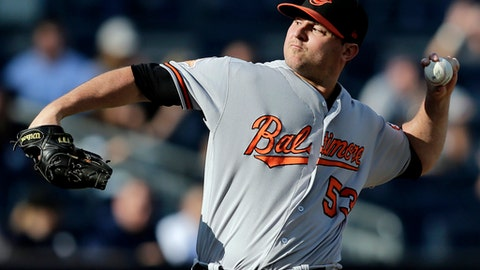 FILE - In this Sept. 17, 2017, file photo, Baltimore Orioles relief pitcher Zach Britton throws during the ninth inning of a baseball game against the New York Yankees at Yankee Stadium in New York. Britton has been activated from the disabled list, six months after undergoing surgery to repair a ruptured right Achilles tendon. Assuming hes finally healthy enough to resume his role as one of the best closers in the big leagues, the question now is: How long will Britton be with the Orioles? (AP Photo/Seth Wenig, File)